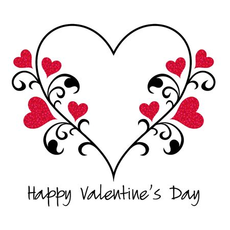 valentines day glitter hearts with vine vector graphic