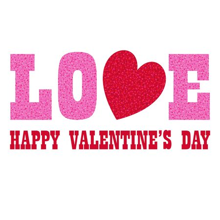 red pink glitter valentines day  love vector graphic with heart Ilustrace