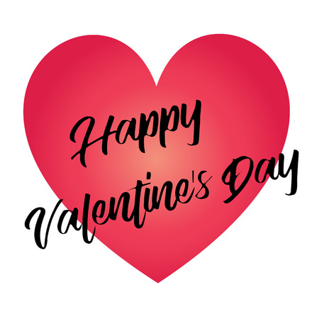 Hand written happy valentines day calligraphy vector graphic on gradient red heart. Ilustrace