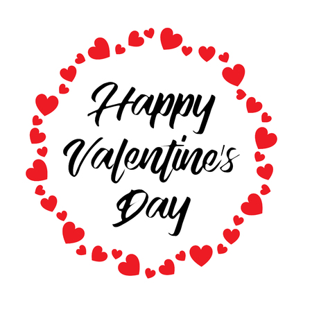 Hand written happy valentines day calligraphy vector graphic with heart.