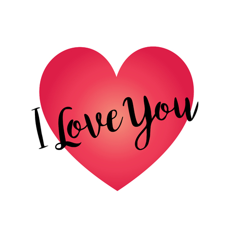 Hand written I love you calligraphy vector graphic on red gradient heart