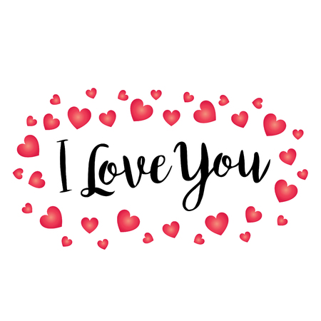 Hand written I love you vector graphic with scattered gradient hearts.