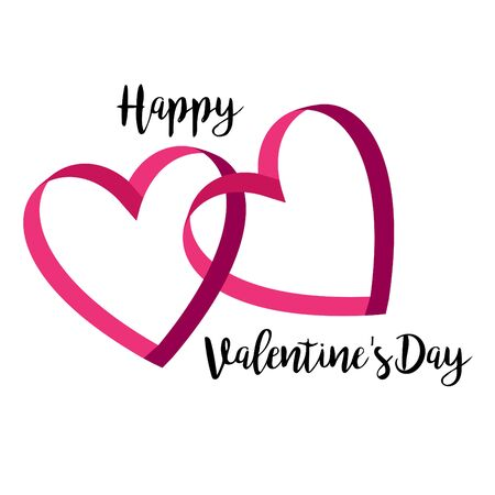 Happy Valentines day interlocking ribbon hearts with calligraphic typography. Ilustrace