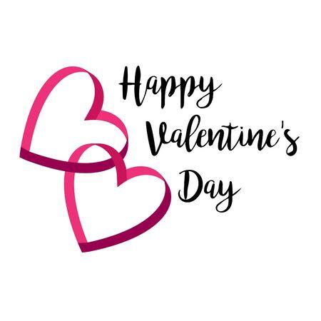 Happy valentines day interlocking ribbon hearts with typography