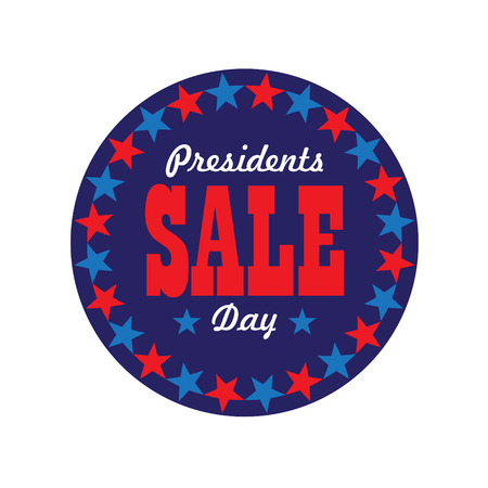 presidents day sale typography graphic in circle star frame vector Illustration