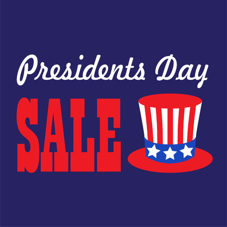 presidents day sale typography graphic with uncle sam top hat vector Ilustrace