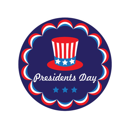 presidents day top hat in circle frame vector graphic