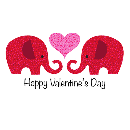 cute red glitter valentine elephants with heart vector graphic Ilustrace