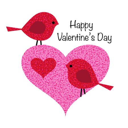 Cute valentine birds in pink glitter heart vector graphic