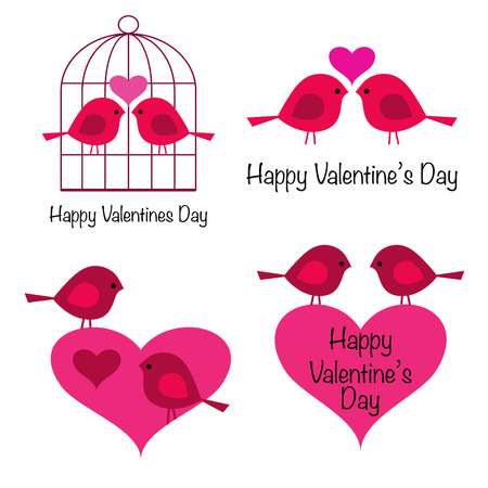 Cute valentines day birds with hearts vector icons