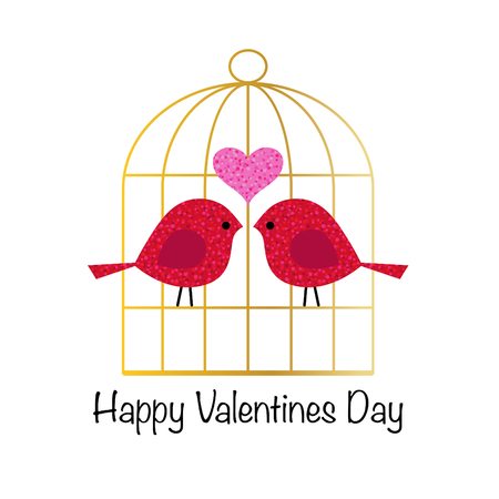 cute valentines day glitter birds with gold birdcage vector graphic