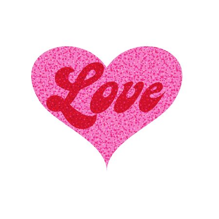 mod love in pink glitter heart vector graphic