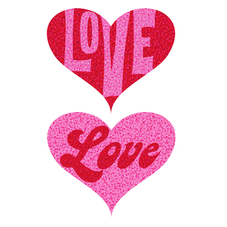 Mod pink red love valentine glitter hearts vector graphics