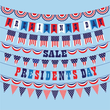 Presidents day bunting vector graphics. Ilustrace