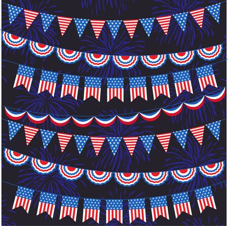 Red white blue bunting and fireworks pattern