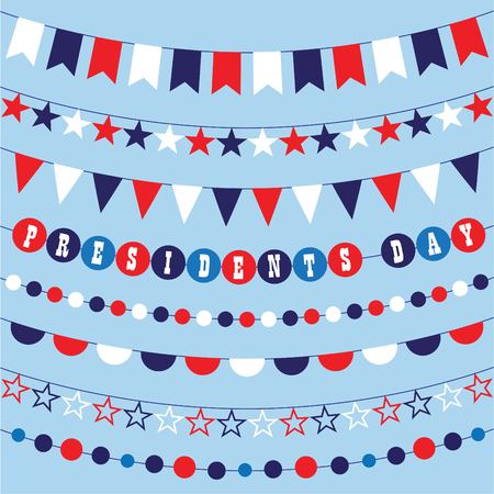 Red white blue bunting graphics Ilustrace