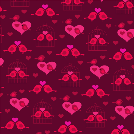 Cute valentine birds with hearts and birdcage background pattern Ilustrace
