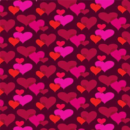 Mod overlapping hearts vector background pattern