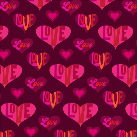 mod valentines day heart background pattern with typography