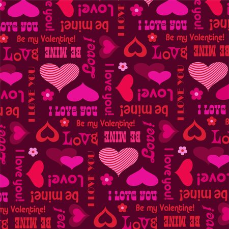 mod valentines day vector background pattern with hearts and typography