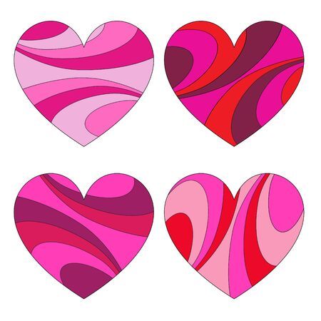Mod swirl pattern vector heart icons