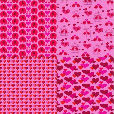 Valentines day vector background patterns on pink with cute birds and elephants Illustration