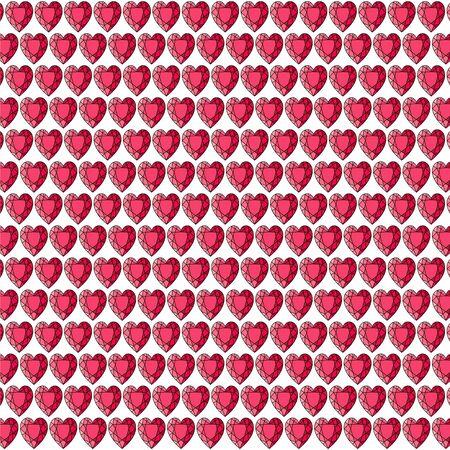 Red gemstone heart background pattern on white Ilustrace