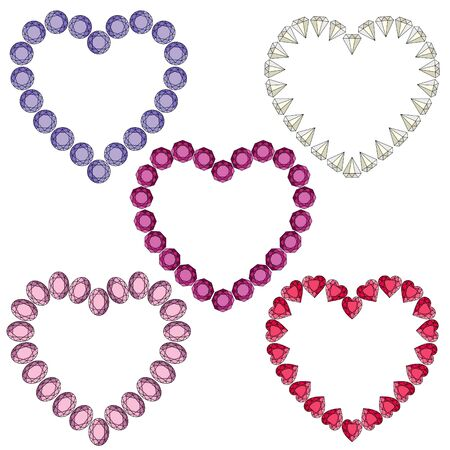 gemstone heart shaped vector frames Ilustrace