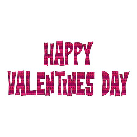 Happy valentines day typography vector graphic with heart pattern
