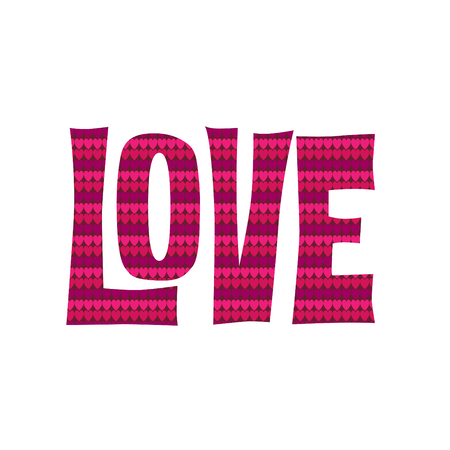 Love typography graphic with heart pattern vector graphic