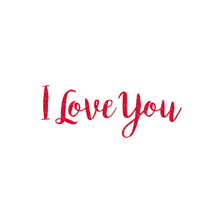red glitter I love you typography vector graphic Ilustrace