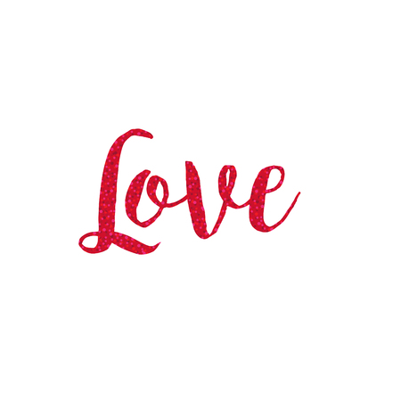 Red glitter love calligraphy vector graphic