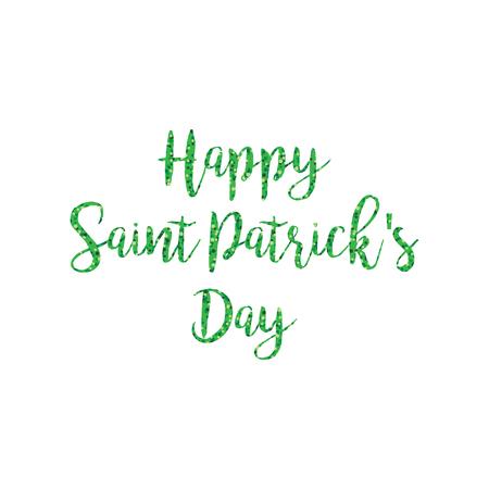 Green glitter happy saint Patricks day calligraphy vector graphic