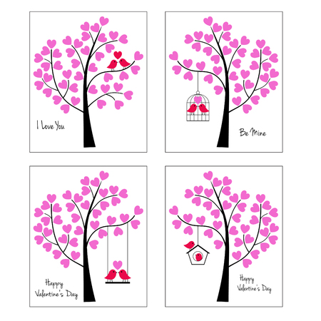 Birds and trees valentine vector graphic illustrations. Çizim