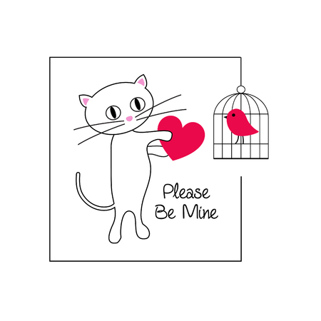 Cute cat and bird valentine vector graphic illustration.