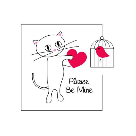 Cute cat and bird valentine vector graphic illustration.