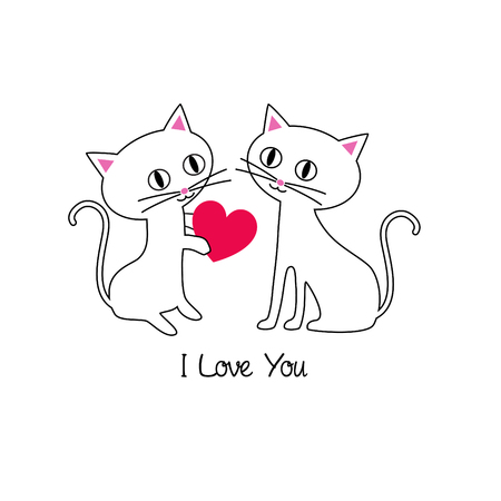Cute kittens Valentine vector graphic illustration.