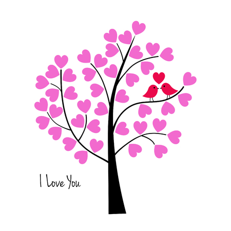 Valentines day birds in tree vector graphic. Çizim