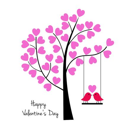 De vogels van de valentijnskaartendag op schommeling met grafische boomvector. Stock Illustratie