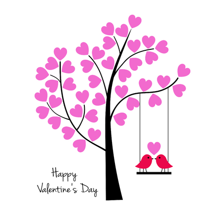Valentines day birds on swing with tree vector graphic.