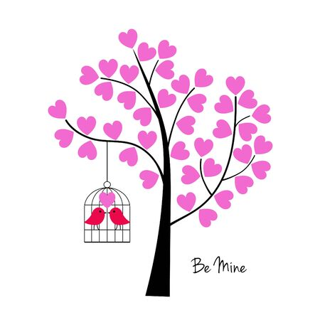 Valentines day birds with tree and birdcage vector graphic.