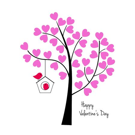 Valentines day birds with tree and birdhouse vector graphic.