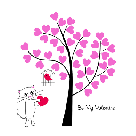Valentines day cat and bird with tree vector graphic.