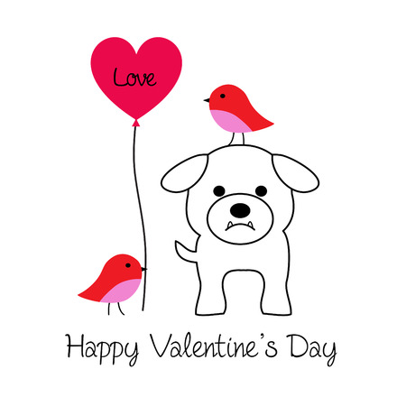 cute bulldog and birds valentine vector graphic with balloon Çizim