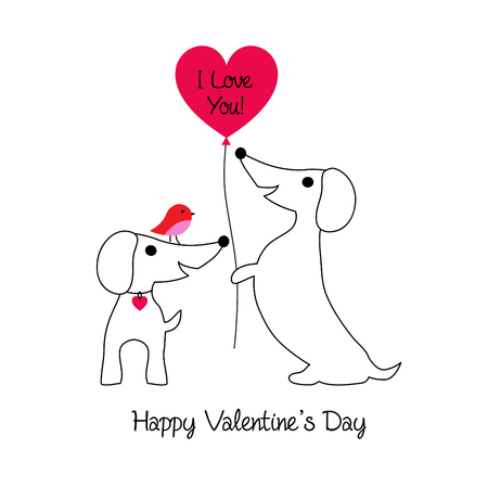 cute dachshund dogs valentine with bird and balloon