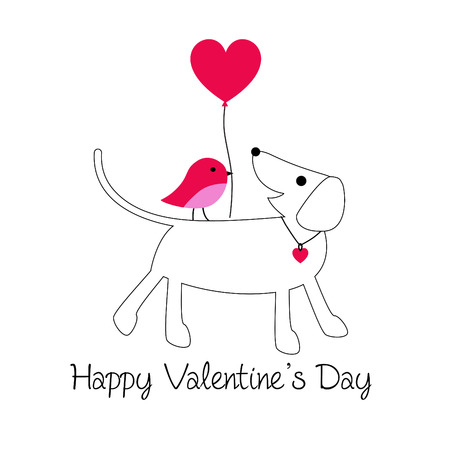 cute dog and bird valentine vector graphic with balloon