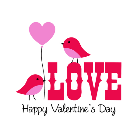 cute valentine lovebirds vector graphic with balloon