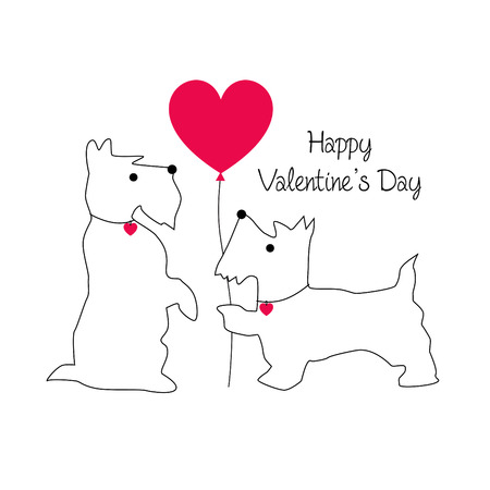 cute Scottie dog valentine vector graphic with balloon