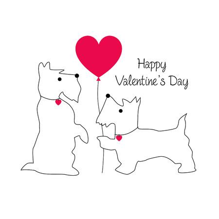 cute Scottie dog valentine vector graphic with balloon