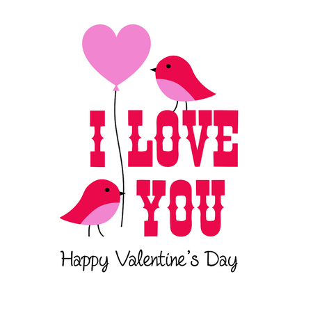 valentine vector graphic with birds and balloon Çizim